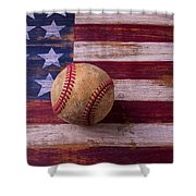 Old Baseball On American Flag Shower Curtain