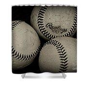 Old Baseballs Shower Curtain