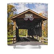 Old Bedford Village Covered Bridge Entrance Shower Curtain