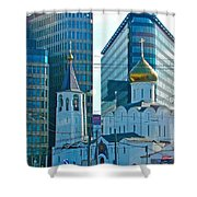 Old Believer-new Believer Church Amid Skyscrapers In Moscow-russia Shower Curtain