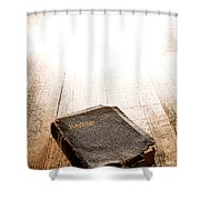 Old Bible In Divine Light Shower Curtain