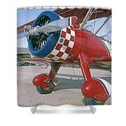 Old Biplane V Shower Curtain