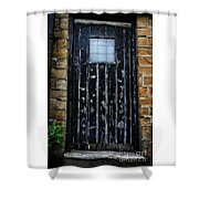 Vintage Cottage Black Door Shower Curtain