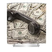 Old Black Phone Receiver On Money Background Shower Curtain