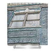 Old Blue Building I Shower Curtain