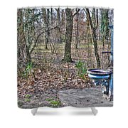 Old Blue Fountain Shower Curtain