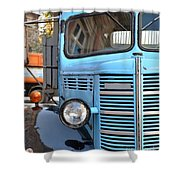 Old Blue Jalopy Truck Shower Curtain