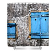 Old Blue Shutters Shower Curtain