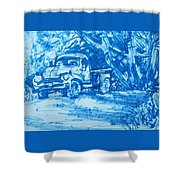 Old Blue Truck Shower Curtain