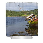 Old Boat In The Loch  Shower Curtain