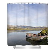 Old Boat On Afon Dovey River Shower Curtain