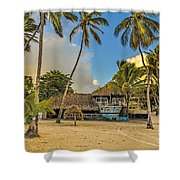 Old Boat On The Beach Shower Curtain