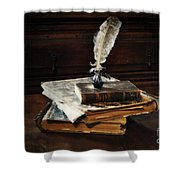 Old Books And A Quill Shower Curtain by Mary Machare