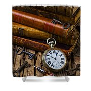 Old Books And Pocketwatch Shower Curtain