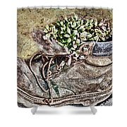 Old Boot Flowerpot Shower Curtain