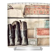 Old Boots And Boxes - On The Shelves Of A 19th Century General Store Shower Curtain by Gary Heller