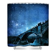 Old Bridge Over River Shower Curtain