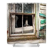 Old Broken Window And Shutter Of An Abandoned House Shower Curtain