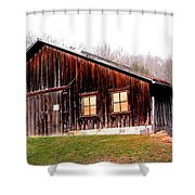 Old Brown Barn Along Golden Road Shower Curtain