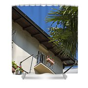 Old Building And Palm Trees Shower Curtain