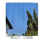 Old Building And Trees Shower Curtain