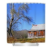 Old Cabin And Tree Shower Curtain