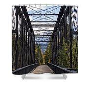 Old Canmore Railroad Bridge Shower Curtain