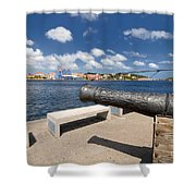 Old Cannon And Queen Juliana Bridge Curacao Shower Curtain