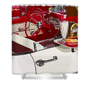 Old Car At Drive In Restaurant Shower Curtain