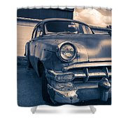 Old Car In Front Of Garage Shower Curtain