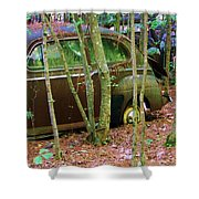 Old Car In The Woods Shower Curtain