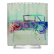 Old Car Watercolor Shower Curtain by Naxart Studio