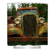 Old Cars Left To Decorate The Weeds Shower Curtain