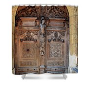 Old Carved Church Door Shower Curtain