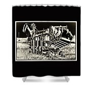 Old Case Thresher - Black And White Shower Curtain