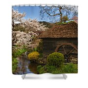 Old Cherry Blossom Water Mill Shower Curtain