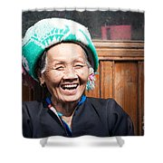 Old Chinese Zhuang Minority  Lady Smiling China Shower Curtain