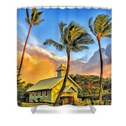 Old Church At Honokawai Maui Shower Curtain