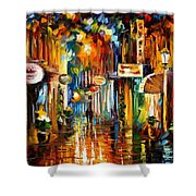 Old City Street - Palette Knife Oil Painting On Canvas By Leonid Afremov Shower Curtain