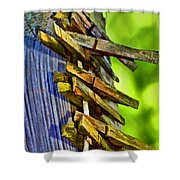 Old Clothes Pins II - Digital Paint Shower Curtain