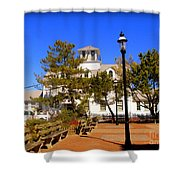 Old Coast Guard Life Boat Station Shower Curtain