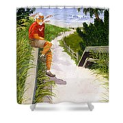 Old Codger On Beach Shower Curtain