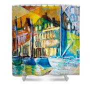 Old Copenhagen Thru Stained Glass Shower Curtain
