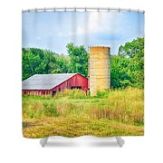Old Country Farm And Barn Shower Curtain