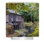 Old Creek Grist Mill In Autumn Shower Curtain