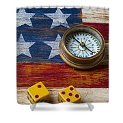 Old Dice And Compass Shower Curtain