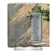 Old Door And Stucco Wall Shower Curtain