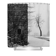 Old Door And Tree Shower Curtain by William Jobes