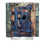 Old Door At Abandoned Prison Shower Curtain