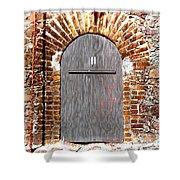 Old Doorway Of Pidgeon Island Fort Shower Curtain